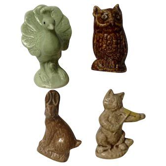 Wade Figurines Cat and Fiddle, Peacock, Owl Bird and Bunny Rabbit Made In England
