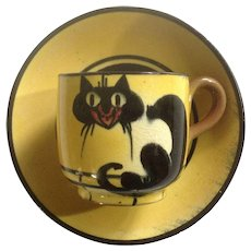 Antique Watcombe Torquay England Black Cat John Barker Extremely Rare Pottery Cup & Saucer Set
