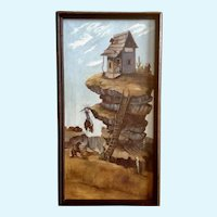 Old Cowboy Saloon Comedy On Mesa Original Oil Painting