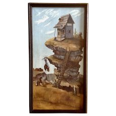 Old Cowboy Saloon Comedy On Mesa Original Oil Painting on Canvas by Artist Landrum