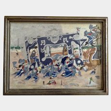 Gary W Eklund Circus Organ Wagon Train Stuck in the Mud Watercolor Mixed Media Painting Signed by Folk Illustrator Artist