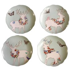 A Walk in the Woods by Rosanna Luncheon Dessert Plate White Deer with Rose Garland Floral Motif On Light Aquamarine Blue Discontinued