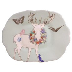 A Walk in the Woods by Rosanna Footed Cookie Dessert Serving Pedestal Plate White Deer with Rose Garland Floral Motif On Light Aquamarine Blue Discontinued