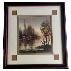 LaVere Hutchings (1918-1998) The Cathedral Original Landscape Watercolor Painting Signed by Listed California Artist