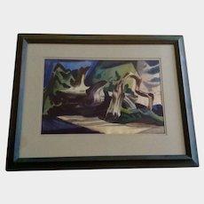 Leonard Cutrow (1910 - 1992) Abstract Desert Deadwood Tree Watercolor Painting