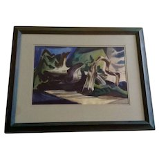 Leonard Cutrow (1910 - 1992), Abstract Desert Deadwood Tree Watercolor Painting Signed by Listed Artist