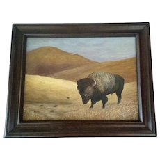 Larry L. Bell (1932-2014), Buffalo Majesty of the Plains, Landscape Acrylic Painting Signed by Colorado Artist