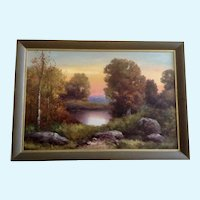 Ward Shadomy, Autumn Fall Landscape at Pond Oil Painting