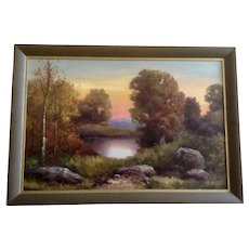 Ward Shadomy, Fall Landscape at Pond Oil Painting on Canvas Signed by Listed Artist