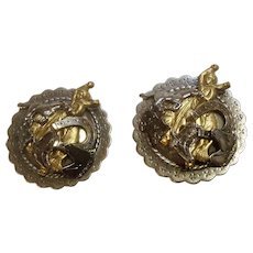 Cowboy Bronc Rider Western Horse Silver-Tone Medallion Clip-On Earrings