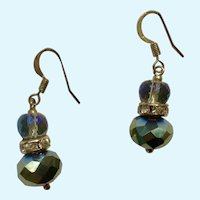 Beautiful Dangling Aurora Borealis and Smoky Mirrored Crystal Fishhook Earrings for Pierced Ears