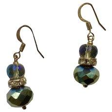 Beautiful Dangling Aurora Borealis and Smoky Mirrored Crystal Fishhook Earrings for Pierced Ears