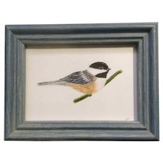 Cute Little Chickadee Bird on a Branch Watercolor Painting Signed, Crystal