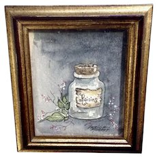 Patricia Murphy, Miniature Still Life Watercolor Painting Signed by Artist