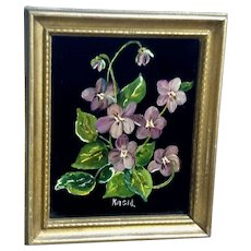 Kasid, Purple Johnny-Jump-Ups Still Life Oil Painting on Glass Signed by Artist