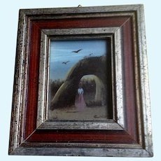 Cico, Figural by Natural Arch Oil Painting on Art Board Signed by Artist