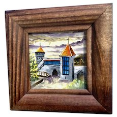 Rae Kasitoo, Miniature Castle Gate Tallinn, Estonia Landscape Oil Painting on Art Board