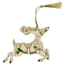 Lenox White Christmas Reindeer Magic Porcelain Tree Ornament Figurine Retired 2007