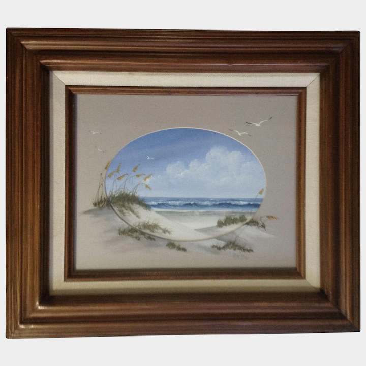 D  McGee, Seagulls Flying Over Beautiful Day at the Beach, Acrylic Seascape  Painting Signed by Artist