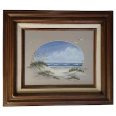 D. McGee, Seagulls Flying Over Beautiful Day at the Beach, Acrylic Seascape Painting Signed by Artist