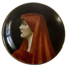 Small Saint Fabiola Portrait Vintage Italian Hand Painted Porcelain Plate Gold Rim Made in Italy 1950's -1960's