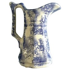 Blue Spongeware Small Pitcher Creamer Vermont Yankee Craftsmen Paul Fuller Passumpsic Village