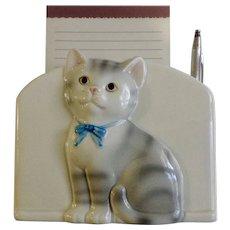 Gray and White Tabby Kitty Cat Notepad Pen Pencil Holder Office Desk Kitten Ceramic Figurine Otagiri