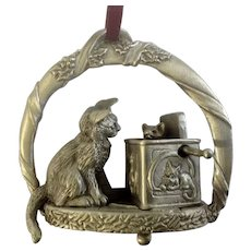Very Rare Pewter Playful Cat Ornament Jack-In-The-Box Christmas Tree Ornament OAW 'To Whiskers From Santa'