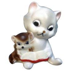 Vintage Josef Originals Kitten Cat Reading to Mouse Friend Ceramic Figurine Japan