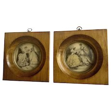 French Ladies Fashion Prints from Circa 1870's in Nice Wood Frames