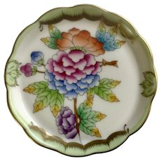 Queen Victoria Green Gold Border, Flowers, Miniature Scalloped Butter Pad Dish  7562/VBO Old Pattern