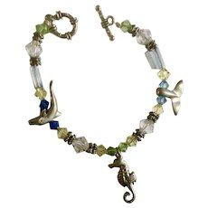 Crystal Beads and Dolphin, Seahorse Whale Tail Charms Bracelet Costume Jewelry