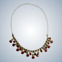 Dangling Ruby Red Glass Crystal Beads With Rhinestones on Brass Chain Stunning Necklace