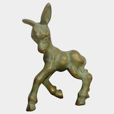Little Vintage Brass Cast Donkey Paper Weight Sculpture