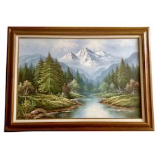 W Chapman Serene River Landscape Oil Painting on Canvas Signed by Artist