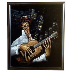 Illustration of Jazz Musician Playing Guitar in the Big City Night Lights Oil Painting on Black Velvet