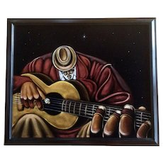 Illustration of Jazz Musician Playing His Guitar in Star lite Sky Oil Painting on Black Velvet