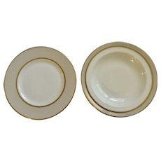 Wedgwood Salad Plate & Soup Bowl Martha Stewart Ribbon Stripe Gold Discontinued (2008 - 2010)