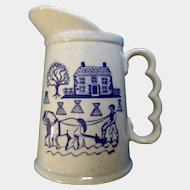Provincial Blue Colonial Farm House Pitcher Poppytrail Vernon By Metlox Discontinued (1950 - 1982)