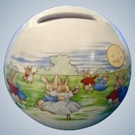 Bunnykins 60th Anniversary Royal Doulton Bunnies Dancing in the Moonlight Piggy Bank Ceramic Money coin Ball Figurine