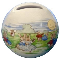 Bunnykins 60th Anniversary Royal Doulton Bunnies Dancing in the Moonlight Piggy Bank Ceramic Money coin Ball Figurine