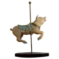 Franklin Mint Limited Treasury of Carousel Art #2 Wild Boar Pig Animal Porcelain Figurine 1989