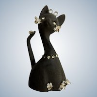 Vintage Geo Lefton Black Matte Kitty Cat Bell Spaghetti Trim Diamond Rhinestones Gold Accents Figurine Made in Japan