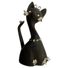 Vintage Geo Lefton Black Matte Kitty Cat Bell Spaghetti Trim Diamond Rhinestones Gold Accents Figurine Made in Japan