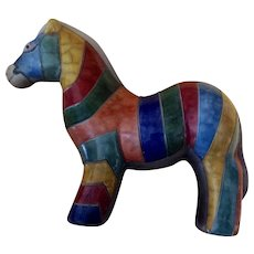 Vintage Striped Horse Earthenware Figurine Art Pottery Statuette Signed by Artist