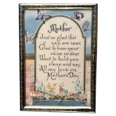 Vintage Mother's Day Poem Butterflies and Petunias 1932 Framed