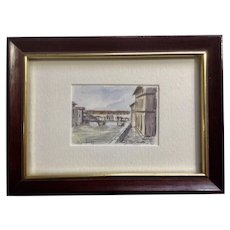 The Covered Bridge Ponte Vecchio in Florence, Italy Landscape Watercolor Painting Signed by Artist
