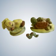 Josef Originals Sexy Lying Turtle, Sleeping Duck Boat and Little Brother Worm Miniature Animal Figurines