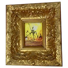 Don Quixote and his Faithful Sidekick Oil Painting in Ornate Gorgeous Gold Frame Signed By Artist
