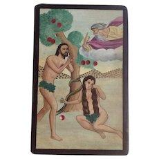 Belarmino Esquibel, Spanish New Mexico Retablo Folk Art Religious Acrylic Painting on Board Adam & Eve Signed by Santa Fe Artist